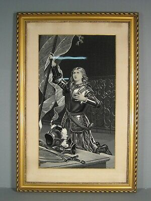 Jeanne of Arc Antique Large Woven on Silk Maker French Neyret Frères