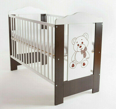 Baby Bed Cot Bear 120x60 Mattress Solid Wood Wood Wenge New