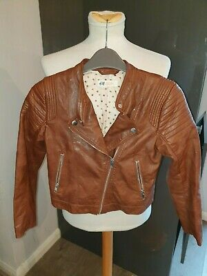Superb Girls Designer H & M Faux Leather Jacket Aged 9-10 Years Rrp £40