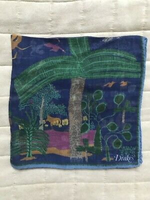 Drake's: Cotton Modal Cashmere Silk Printed - Pocket Square - New