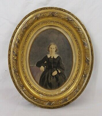 Antique 19th Century Victorian Oval Gesso Framed Portrait Painting