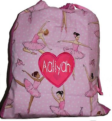 KidsPersonalised Drawstring Library Bag - Ballerina - SMALL - First name FREE