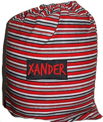 Kids Personalised Drawstring Library Bag - Stripes Red & Grey - First name FREE