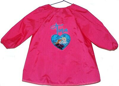 Kids Personalised Art Smock  / Paint Shirt - Anna & Elsa Heart - First name FREE