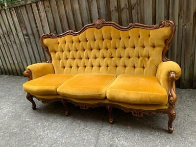 Excellent French Louis Gold Velvet Chesterfield Mahogany Button 3 Seater Sofa