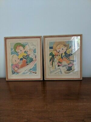 2 Vintage Framed Ruth E Newton Children's Book Illustrations Pages: Boats