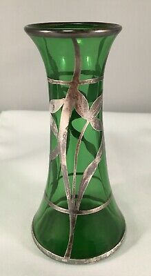 EAMCO Sterling Silver Overlay Green Hand Blown Bud Vase Made in Trenton, NJ