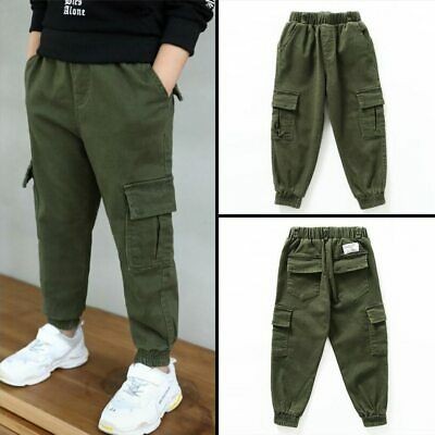 Kids Boys Winter Army Combat Cargo Jogging Joggers Trousers Casual Pants New