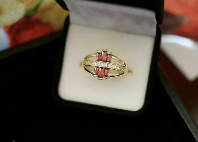 Vintage Jewellery Gold Ring Antique garnet red  Art Deco style  Jewelry L 6