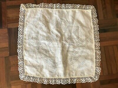 Vintage unused stamped linen table doilie large with lace trim deco iris flower