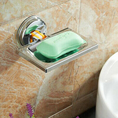 Vacuum Suction Cup Soap Dish Box Bathroom Wall Mounted Holder Toilet Shower Tray