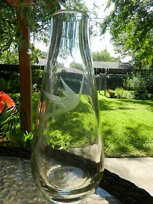 """Vintage Large Clear Glass Vase Etched Swan Heavy Unsigned 10.25"""""""