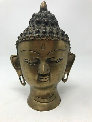 """Buddha Face Statue Gold Painted Metal 8.5"""" Tall Vintage Antique"""