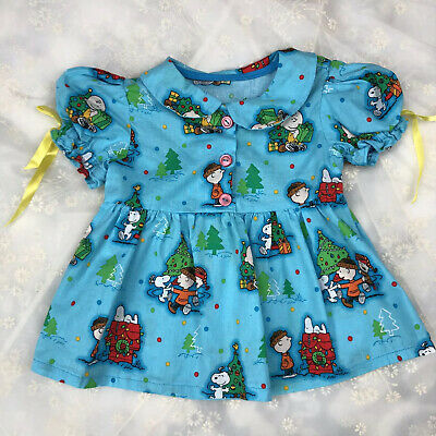 Vtg Christmas Dress Set Peanuts Charlie Brown Snoopy Toddler 2T Girls Bloomers