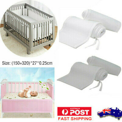 Breathable Bed Surrounding Baby Bedding Crib Cot Bumper Wrap Around Protection