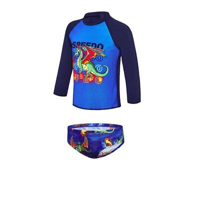 Speedo Toddler Boys Long Sleeve Sun Top and Briefs - Flamming Dragons