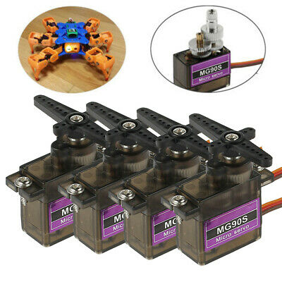 4X 9G MG90S Micro Metal Gear Servo for Boat Car Plane RC Helicopter Boat NEW UK