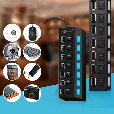 4/7 Port USB HUB 2.0 Hi-Speed Multi Splitter Expansion Desktop PC Laptop Adapter