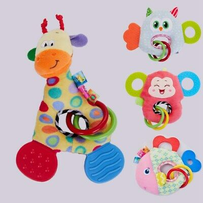 HAPPY MONKEY 0-3 Y Baby Rattles Hand Bell Toy Animals Plush Baby Rattle Gif G6B4