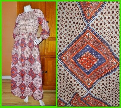 Vtg 70s Nancy Greer Bandana Print Prairie Hippie BOHO Peasant Gypsy Maxi DRESS