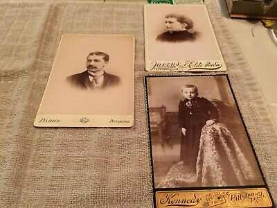 Antique photo cabinet cards Pittsburgh PA Javens Dabbs Kennedy mourning child