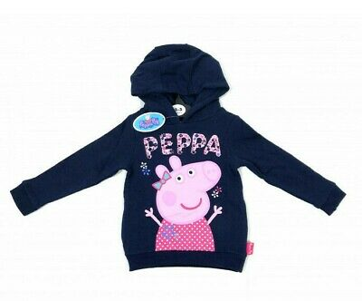 Peppa Pig Girls Navy Blue Pink Floral Hoodie Hooded Top Age 2 3 4 5 6 Years New