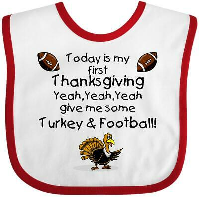 Inktastic Today Is My First Thanksgiving Baby Bib Happy Turkey Blessings Babys
