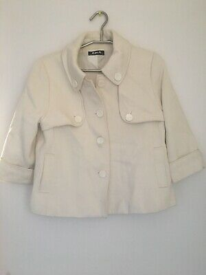 Woman's Winter Jacket Pockets Button Cream Fully Lined 3/4 Lengh Sleeves Size 10