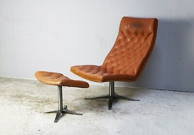 1970's Danish mid century leather lounge chair and footstool
