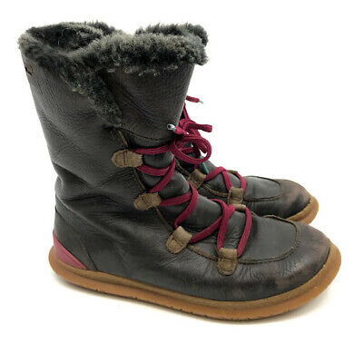 Camper Kids Tall Boots Girls US 1.5-2 EU33 Brown Leather Pink Laces Faux Fur
