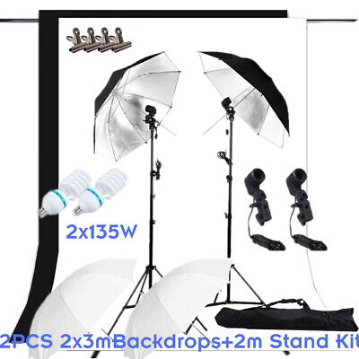 Photography Umbrella Lighting Continuous Light+2x3m Backdrops &T-shape Stand Kit