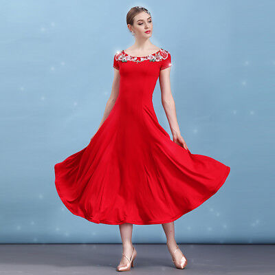 Latin Ballroom Dance Dress Modern Salsa Waltz Standard Long Dress#N098 3 Colors