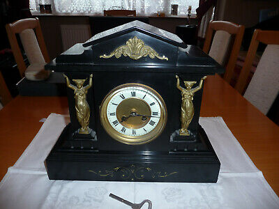 Victorian Black Slate Mantle Clock with Gilded Columns and Figurines