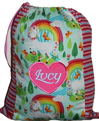 Kids Personalised drawstring library bag - Prancing Unicorns - First name FREE