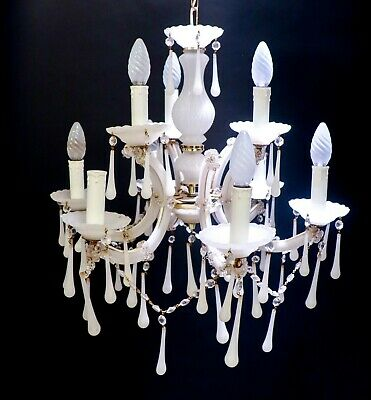 Vintage Chandelier - White Opaline drops - Italy?