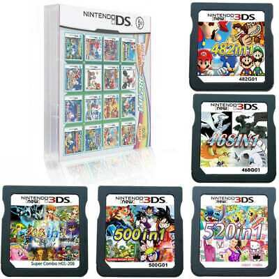 520/500/482/468/208 in 1 Game Cartridge Multicart For NDS NDSL NDSi 3DS 2DS XL