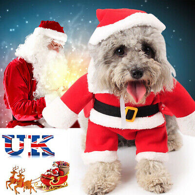 Christmas Pet Small puppy Dog Cat Santa Claus Costume Outfit Jumpsuit Cosplay UK