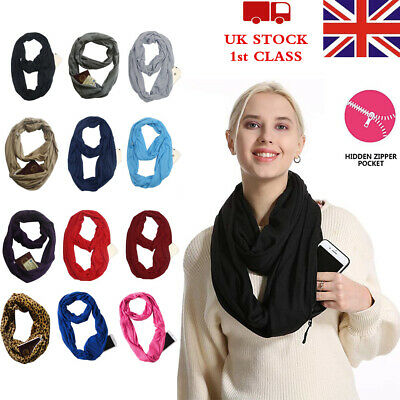 Women's Lady's Thermal Active Infinity Scarf With Hidden Zip Pocket Xmas gift UK