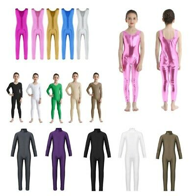 Kid Girl Long Sleeves Gymnastics Ballet Dance Leotard Jumpsuit Catsuit Dancewear