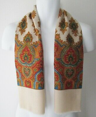 Vintage Mens 60/70s Fringed Paisley/Patterned Scarf Dandy (9780E)