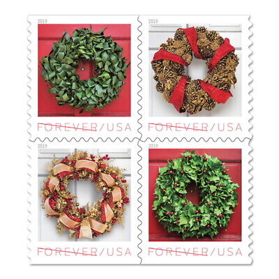 Holiday Wreaths USPS Forever Stamp, Book of 20 Stamps