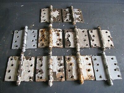 """02 Antique Salvage For Restoration 4"""" Stanley Sweetheart Ball Top Steel Hinges"""