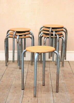 Vintage Retro Rustic Mid Century Tubular School Stacking Stools x4 (8) Available