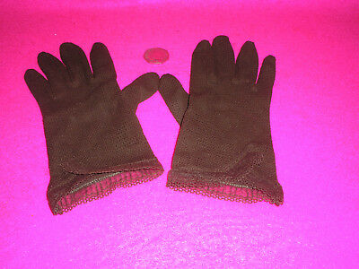 Antique/Vintage/Retro Ladies Eve Gloves Stretch Brown Yarn Frill Crocheted  S/M