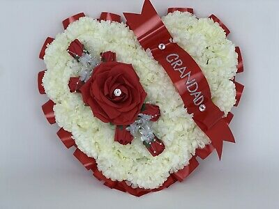 Heart Shaped Silk Artificial Funeral Flowers Wreath Memorial Grave Tribute red