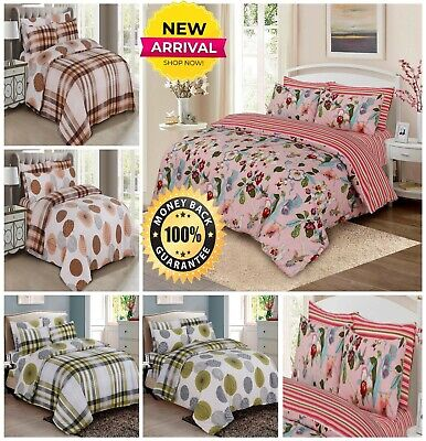 Reversible 4 Pieces Duvet Cover Quilt Bed Set Cotton Complete Bedding Set