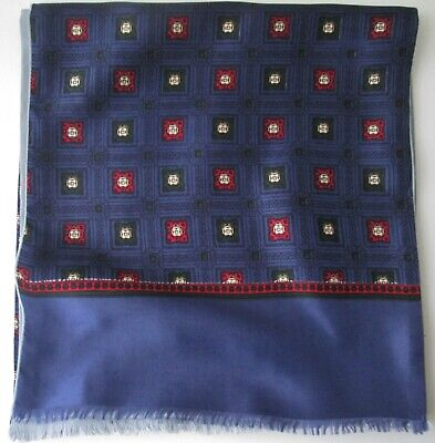 Vintage Mens 60s Fringed Patterned/Geometric Lined Silk Style Scarf Mod (9786E)