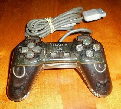 Sony Playstation Ps1 Transparent Black Wired Controller Scph-1080 In Vgwc