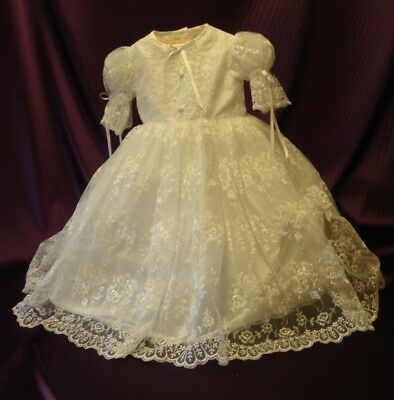 Handmade `Caitlin` White Embroidered Tulle Christening Gown