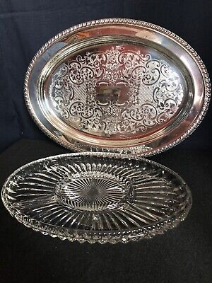 LEONARD SILVERPLATE  SERVING TRAY WITH DIVIDED GLASS INSERT Wedding Decor SB